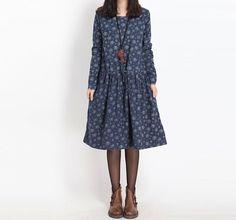 2015 autumn new fashion women clothing cotton thin long-sleeved drawstring print dress plus size elegant casual dresses female