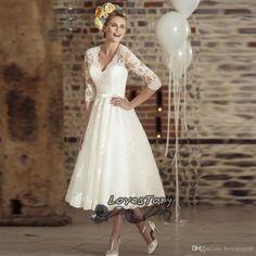 Vestido De Noiva Curto Vintage Ivory Tea Length Wedding Dress Lace 2017 Wedding Gowns V Neck Short Bridal Dresses 3/4 Sleeve Bow A Line Wedding Dresses Uk Ball Gowns Wedding Dresses From Lovestory00, $130.39| Dhgate.Com