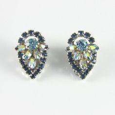 Aurora Borealis and blue rhinestone earrings 1950s. Available @ www.luluandbelle.com