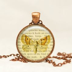 Moth Ephemera Glass Pendant Necklace in Antique Copper with free chain CC14 by prideandpendants on Etsy