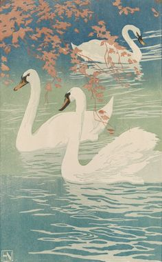 """""""Swans in Autumn"""" woodcut in colors by Hans Neumann, Jr., 1920-1930."""