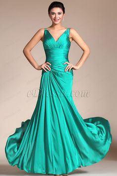 2014 New Turquoise Sexy V-cut Transparent Back Evening Dress (C00140411) #edressit #fashion #dresses #eveningdresses #vcutgowns #greeneveninggowns #promdresses