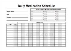 Home Medication Chart Template Free Daily Schedule Printable Monthly Medicatio