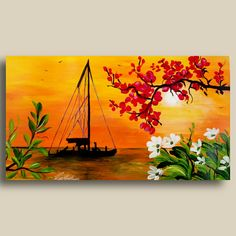 Making of Easy Scenery Painting in Acrylics - Beginners Painting - Relaxing Demo - Canvas Small Canvas Paintings, Easy Canvas Art, Small Canvas Art, Indian Art Paintings, Canvas Paper, Diy Canvas, Canvas Art Projects, Canvas Painting Tutorials, Acrylic Painting On Paper
