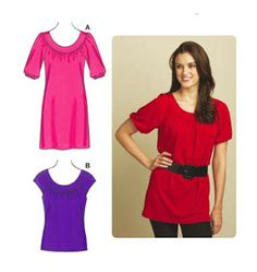 Kwik Sew Pull-Over Tops K3593 sizes xs to xl, make this in a soft knit or drapey woven.