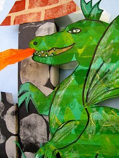 once upon a time there were dragons...  Once upon a time  there were castles, and princesses,  and knights and   fire breathing dragons...  This was a great project and the kids loved it.  First we cut and glued fun foam to cardboard   in shapes of bricks,   stones for castle walls,   clouds and dragon scales.  Then we printed with acrylic paints because that is what I had -   worked great.  The following week we each took our stash of building materials  and cut and pasted and built a…