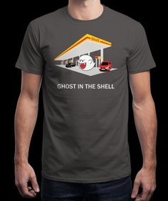 """""""GhostintheShell"""" is today's £9/€11/$12 tee for 24 hours only on www.Qwertee.com Pin this for a chance to win a FREE TEE this weekend. Follow us on pinterest.com/qwertee for a second! Thanks:)"""