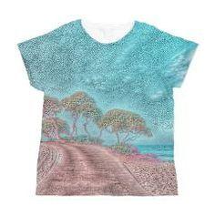 #dreamlike #landscape aqua Women's All Over Print T-> dreamlike landscape-more colors> #Impressive Moments