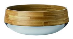 wood and stainless bowl