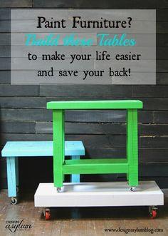 Build Work Tables for Painting Furniture. www.designasylumblog.com