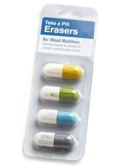 Editor's Orders Eraser Set. Use one of these pill-like designed erasers once a day, as needed, to treat any smudge or misspelling. #white #modcloth