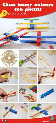 Manualidades con pinzas. Cómo hacer aviones de manera facil. Manualidades y reciclaje. Ideas de manualidades para niños. Ideas de manualidades con palos de madera para hacer con niños. Tutorial paso a paso. FixoKids!