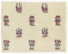 Manufacture de Toiles Peintes * de Pourtales and C. a Munster en Alsace 18th century cotton -: block printed on plain weave. cream white cotton, block printed in detached design of small flower clusters and clusters of buds, with roots showing; colors now appearing, red, brown and blue.
