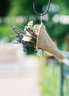 lavender and burlap wedding aisle decor via birgit hart Sunflower Wedding Decorations, Wedding Aisle Decorations, Aisle Flowers, Wedding Flowers, Chic Wedding, Rustic Wedding, Lace Wedding, Wedding Bells, Wedding Reception
