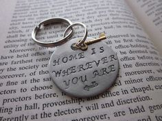 Home Is Wherever You Are  Hand Stamped Key Chain by SeizeTheNight, $13.00