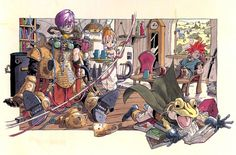 Concept art of Crono, Frog, Marle and Lucca just hanging around from Chrono Trigger by Akira Toriyama