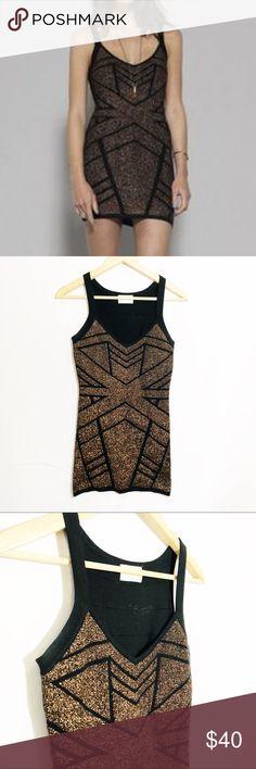 LULU's Gentlefawn black shine gold bodycon mini SO cute. LIKE NEW— worn one time. Lulu's Dresses Mini