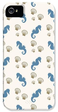 Seahorse and Shells Pattern iPhone 5 case by Christina Rollo.  Protect your iPhone 5 with an impact-resistant, slim-profile, hard-shell case.  The image gets printed directly onto the case and wrapped around the edges for a beautiful presentation.  Simply snap the case onto your iPhone 5 for instant protection and direct access to all of the phones features.