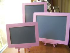 3 Shabby Chic/Rustic Chic Wedding Chalkboards with 2 Easels. $28.00, via Etsy.