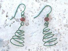 Handmade Spiral Wire Christmas Tree Earrings by 2012BellaVida