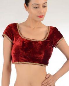 #Exclusivelyin, #IndianEthnicWear, #IndianWear, #Fashion, Ruby Red Embellished Velvet Blouse