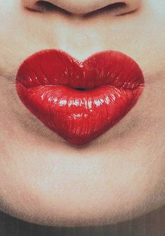 Heart-shaped lips because duh. #weheartyou #valentines #day #makeup #lipstick #redlips #inspo #inspiration