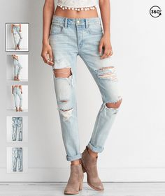 AEO Tomgirl Jeans in Classic Marble Destroy