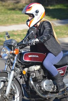 Denim and leather motorcycle clothing