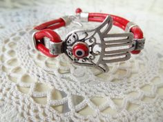 Hamsa-Hand of Fatima Bracelet Red Leather by sevinchjewelry