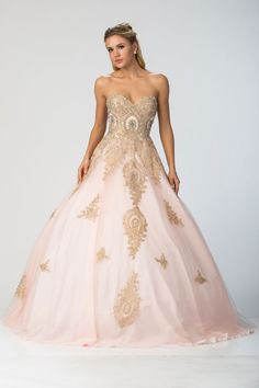 STRAPLESS BALL GOWN FT10168.  Beautiful Long Ballgown with Ornate Embroidery and Sparkling Beading Embellishment Throughout has Sweetheart and Strapless Bodice with Low Back. Dress also has Floor Length A-line Skirt with Mesh Overlay.  https://www.dresstopic.com/prom-dresses/strapless-ball-gown-ft10168