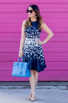 a79f9b575c1d Donna Morgan Emma Dress on Jenn Lake from Style Charade Navy Floral Dress