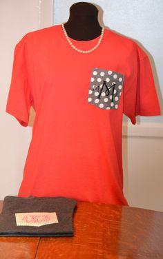 Monogrammed Pocket Tee Shirt Design Your Own. $24.99, via Etsy.