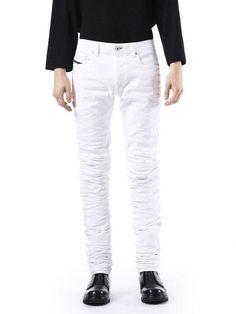 0facac9b Diesel jeans men / diesel 00sqwhbg8jy white jeans type - 2614 men's black  gold jeans,