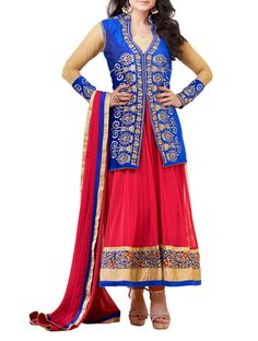 Buy Fabdeal Embroidered Semi-stitched Suit Online, , LimeRoad