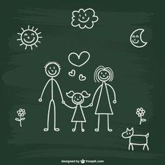 Dibujo de familia en pizarra
