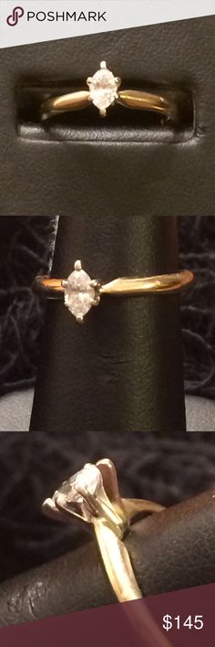 .20 carat Marquise Diamond Ring .20 carat marquise diamond in 14 kt gold setting Jewelry Rings