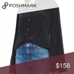 ae20f515a399d7 EQUIPMENT Coco Silk Shirt Navy Bell Sleeve Blouse EQUIPMENT Coco Silk Shirt  100% New and