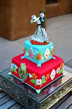 Maggie's Cakes | Custom Wedding Cakes | Santa Fe, New Mexico Dia de los Muertos wedding cake