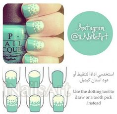 Lace Nails. Mint teal tutorial visual guide #diagram #display #nails DIY NAIL ART DESIGNS