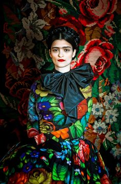 Designer Susanne Bisovsky has envisioned a beautiful fashion collection inspired by painter Frida Khalo. The photo shoot was taken by Atelier Olschinsky, and the images will be exhibited this year at Kunsthalle wien.