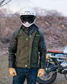 caferacersofinstagram: The @ampal_creative x @marine.machine Riders Jacket. Based on a vintage WWII jacket, these guys updated the fit, lengthened the sleeves, and added knit cuffs for the optimal riding position.  Use Promo Code: CROIG to get a free hat and shipping on this jacket. This is a limited run so get yours just in time for the riding season.  Photo by @nathaneelias.  #ampalcreative #croig #caferacersofinstagram #caferacer