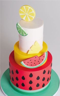 New fruit cake design sweets Ideas Pretty Cakes, Cute Cakes, Beautiful Cakes, Amazing Cakes, Fondant Cakes, Cupcake Cakes, Decors Pate A Sucre, Fruit Birthday, 2nd Birthday
