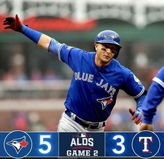 and the are flying high. They smash their way to a lead in the in Texas. Troy Tulowitzki, T Games, Toronto Blue Jays, Go Blue, Texas Rangers, Two By Two, Arlington Texas, Baseball Cards, Running