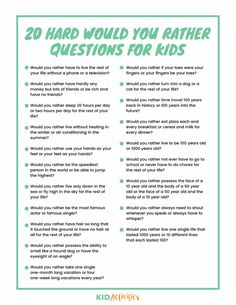 A collection of 301 would you rather questions appropriate for kids of all ages. Enjoy these weird, gross, funny, and hard would you rather questions. Funny Would You Rather, Would You Rather Questions, This Or That Questions, Games For Kids, Activities For Kids, Sleepover Activities, Sleepover Party, Educational Activities, Educational Websites