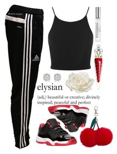"""I'm Back"" by myra-moore ❤ liked on Polyvore featuring adidas, Retrò, Miss Selfridge, New Look, Christian Louboutin, Allstate Floral, Effy Jewelry and Justin Bieber"