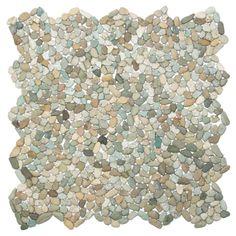 Danube Random Sized Natural Stone Mosaic Tile in Beige/Green