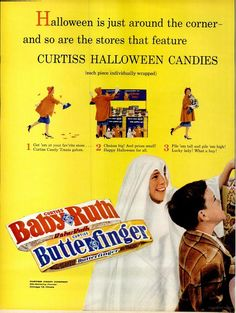 """Vintage Halloween Ad ~ Curtiss Candies ©1961 * """"Halloween is just around the corner and so are the stores that feature Curtiss Halloween Candies"""""""