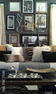 Wall decor idea... love this blogger/designer and she moved near me! :)