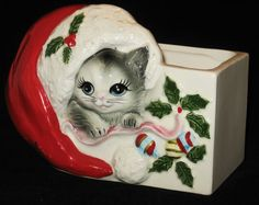 Vtg 60s Japan Adorable Christmas Santa Kitty Cat Ceramic Planter Near Mint | eBay