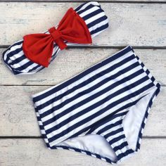 Sailor's Girl Navy Striped Red Bow High-Waist Bikini | Amazing Lace
